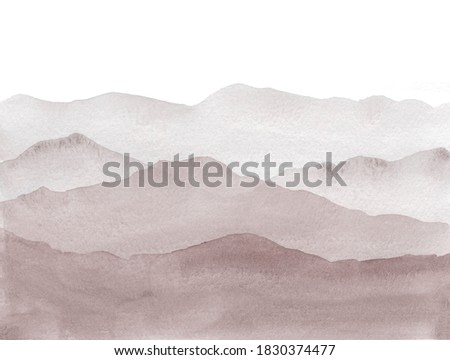 Sepia watercolor Mountains in fog hand drawn illustration