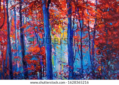 Original oil painting showing beautiful Autumn forest on canvas. Modern Impressionism