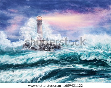 Original oil painting of  lighthouse during storm on canvas.Purple sunset over ocean.Modern Impressionism