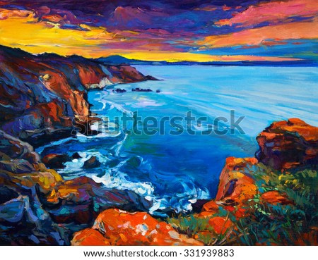 Original oil painting of  Ocean and cliffs on canvas.Rich golden  Sunset over ocean.Modern Impressionism