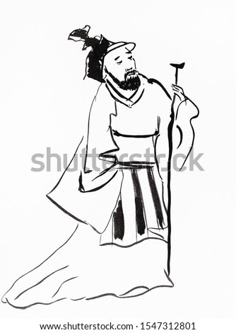 old chinese landlord hand drawn in sumi-e style by black ink on white paper