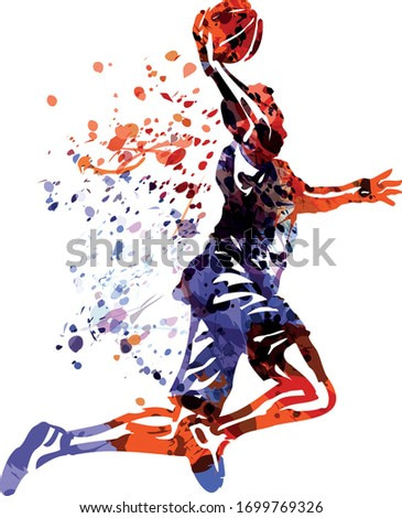 Color vector illustration of basketball player