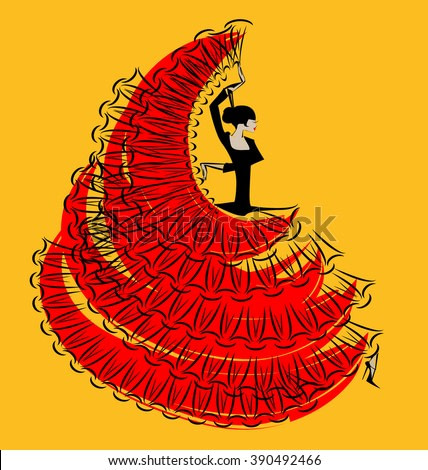 red-yellow image of flamenco dancer