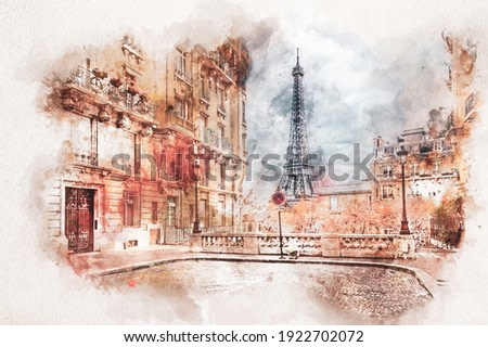Watercolor painting of Eiffel Tower in Paris, France.