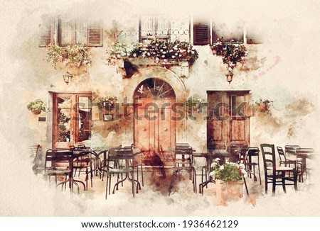 Watercolor painting of retro romantic restaurant, cafe in a small Italian town. Vintage Italy