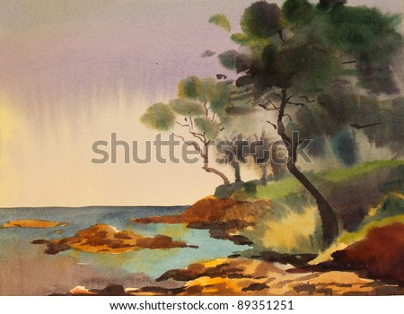 Watercolor painting of the Cote d'Azur, France.