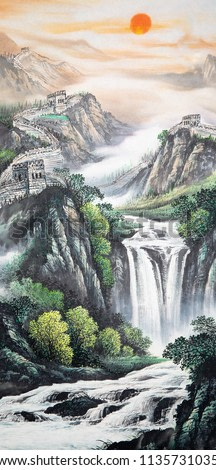 Chinese traditional painting of landscape