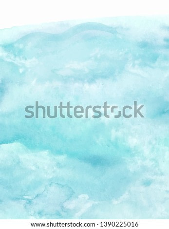Sea water texture, abstract hand painted watercolor background