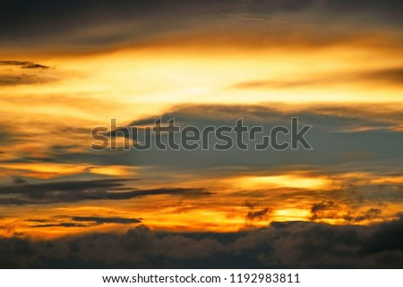 Golden heaven light Hope concept abstract blurred background  evening sunset scenario by nature light