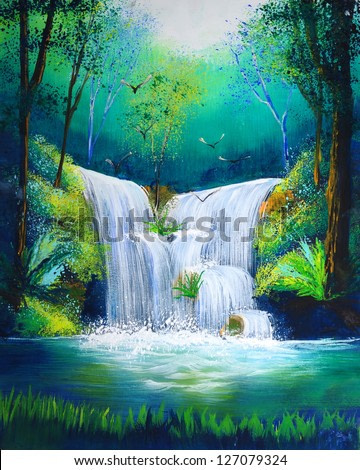watercolor painting of waterfall