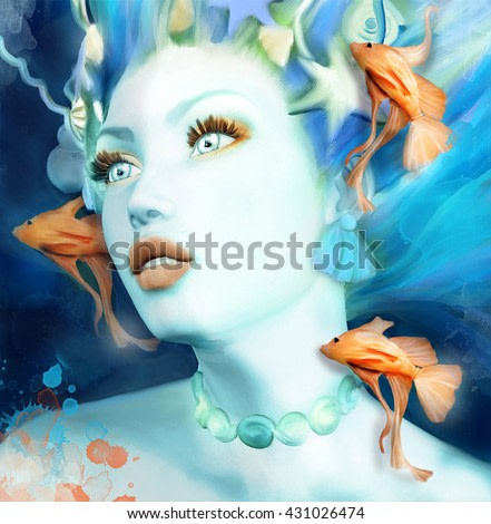 Mermaid portrait with orange fishes - 3D and watercolors illustration