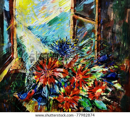 Summer. A bunch of flowers at a window. A sunny day
