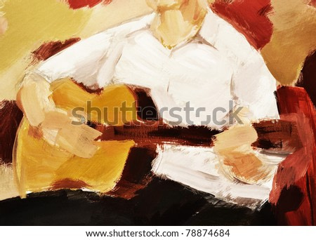 The man playing a guitar