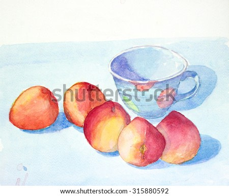 peach and cup still life  watercolor painted illustration with copy space for text