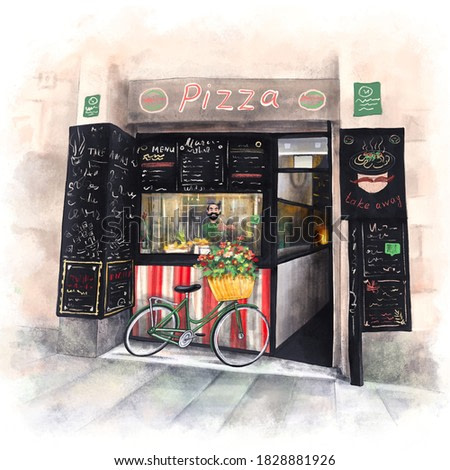 Street pizzeria with a cheerful Italian chef. Digital drawing as watercolor