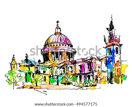 sketch watercolor painting of London top view - St. Paul Cathedral, vector illustration