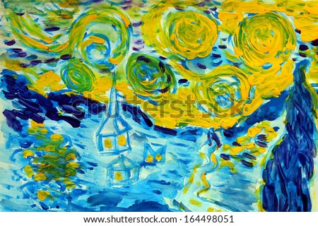 watercolor painting style of Van Gogh winter snow and silhouettes of houses colors of blue and yellow