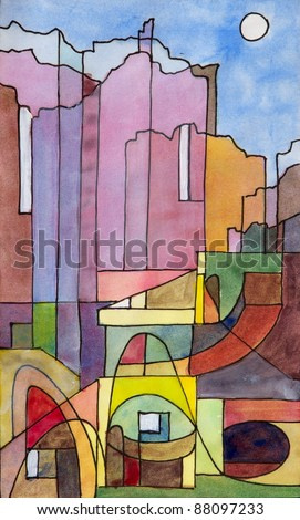 a semi-abstract watercolor and ink painting of buildings on the island of Capri
