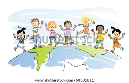 happy kids of different ethnicity on top of the world, watercolor style, grouped and layered for easy editing