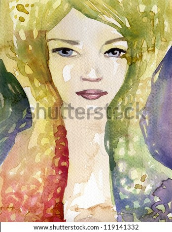 Stock Photo: Watercolor illustration of a woman