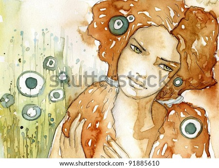 Watercolor illustration of a portrait of a girl in summer.