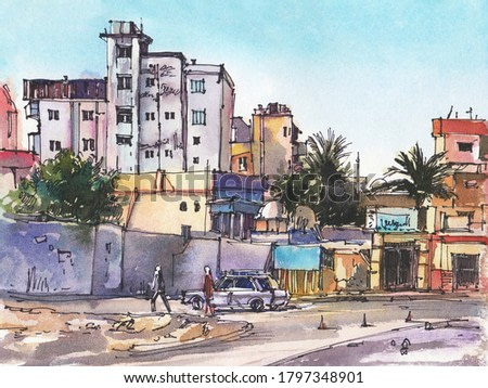 City landscape. Egypt.  A sketch with watercolor. Hand-drawn illustration.