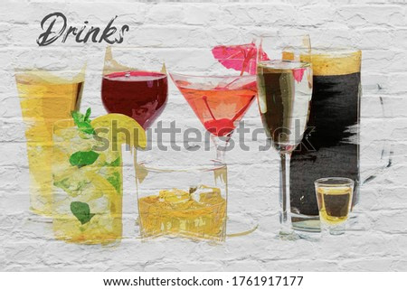 Watercolor of different kinds of alcohol on white wall