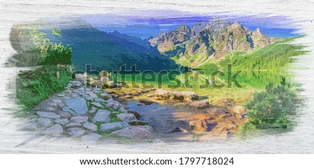 Famous lake in Tatra mountains at sunrise, watercolor painting