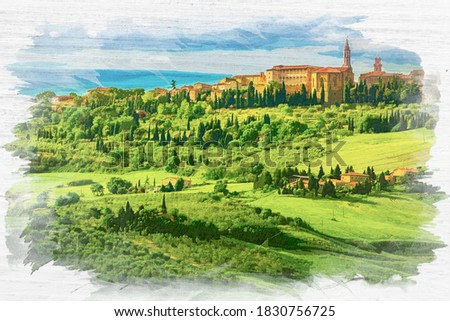 Pienza in Tucany on old paper, Italy, watercolor painting