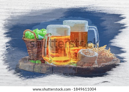 Watercolor painting of beer with hops and wheat on wooden barrel
