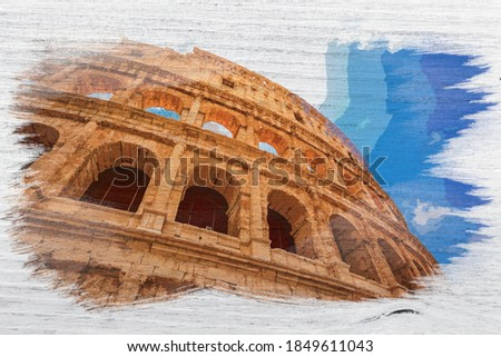 Stunning and ancient Colosseum in Rome, Italy, watercolor painting