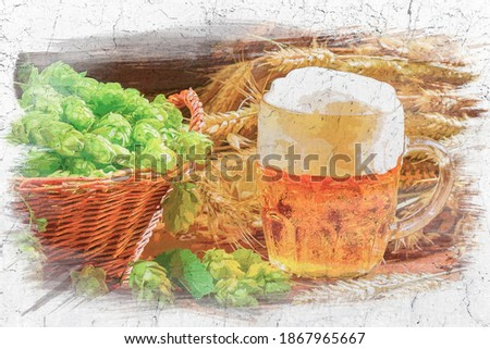 Beer with foam, hops and wheat on old table, watercolor painting