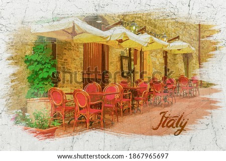 Watercolor painting of small cafe on vintage street in Italy, Europe