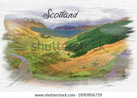 Winding mountain road over a canyon in Scotland, Europe, watercolor painting