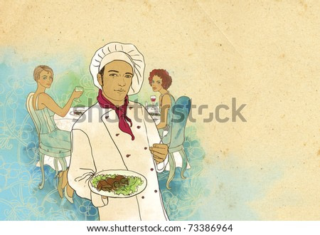 Two girls in a restaurant waiting for the chef