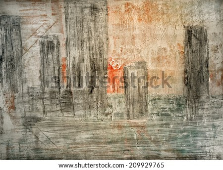Abstract architecture Painting  oil on Canvas