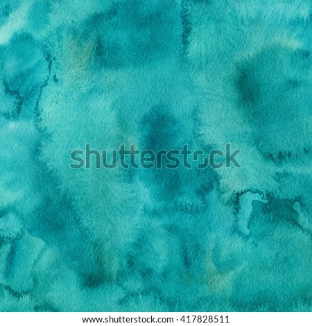Teal watercolor painted paper background, square format.