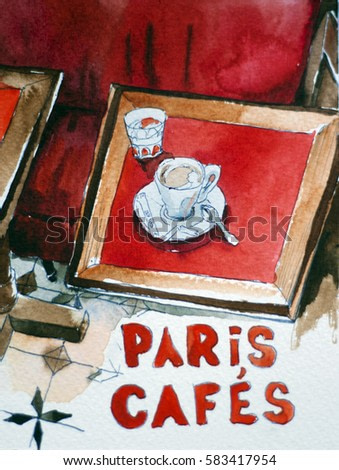 Interior of typical old coffee shop in Patis with red benches and wooden tables with cup of coffee original watercolor painting