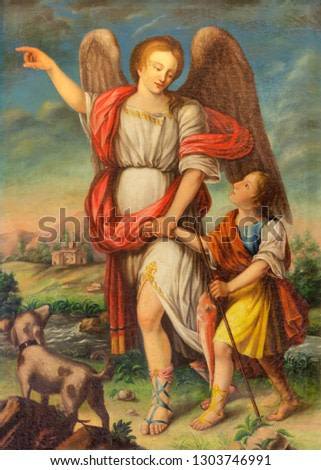 PALMA DE MALLORCA, SPAIN - JANUARY 28, 2019: The painting of Archangel Raphael and Tobias in church Iglesia de Santa Eulalia by unknown artist.