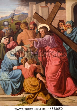 Christ and the cry of women - paint from st. Elizabeth church in Vienna