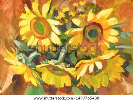 Sunflowers. Still life with a bouquet of flowers. Gouache painting