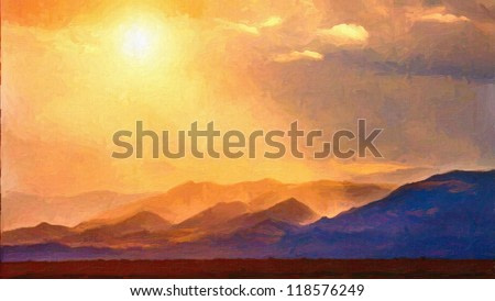Digital structure of painting. Summer landscape in mountains with the sun