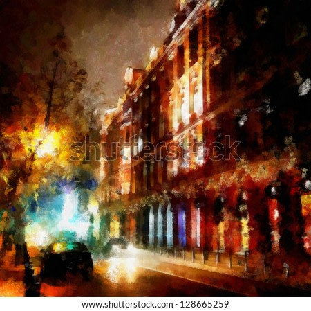 Digital structure of painting. Watercolor evening cityscape