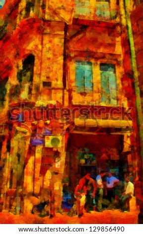 Digital structure of painting. European street life