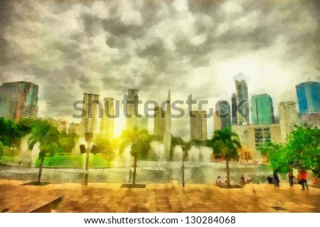 Digital structure of painting. Sunny cityscape
