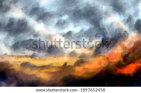Watercolor clouds before rain in the desert Digital painting structure