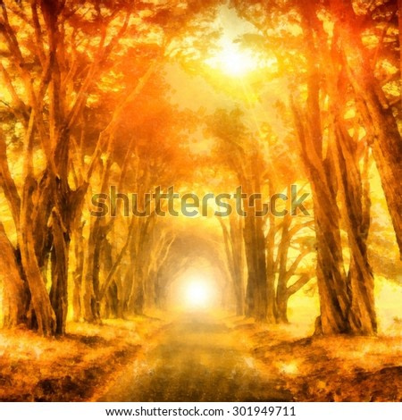 Solar golden alley with a bright light at the end. Digital painting structure