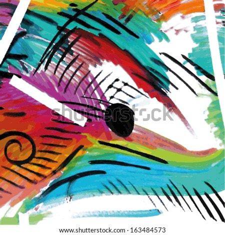 Vector illustration of an abstract aquarelle painting. Collage colorful hand drawn image.