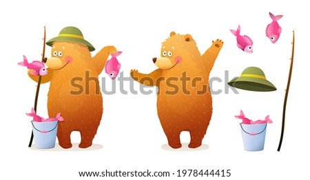Cute Bear Fisherman Character standing holding catch, bucket, and fishing rod. Animals Leisure summer activity and hobby pursuit. Watercolor style illustration.