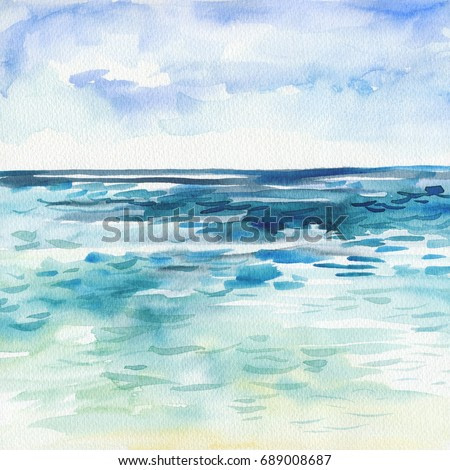 Sea background. Hand painting Watercolor illustration